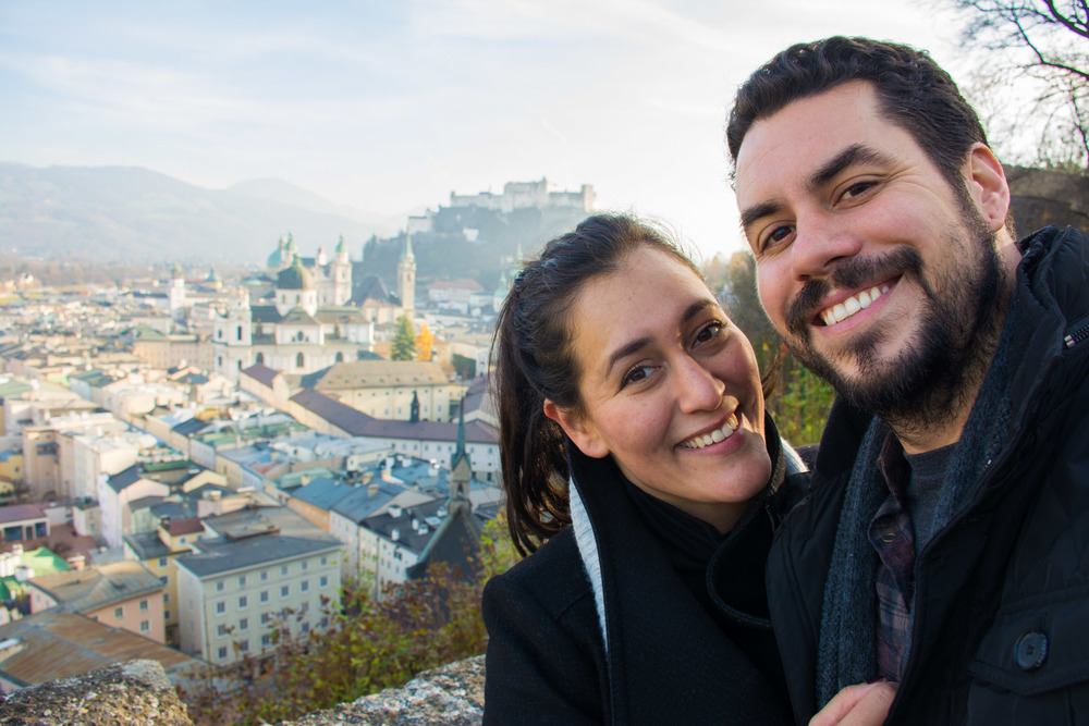 Walking on the hills surrounding Salzburg, with the view of the old town in the background