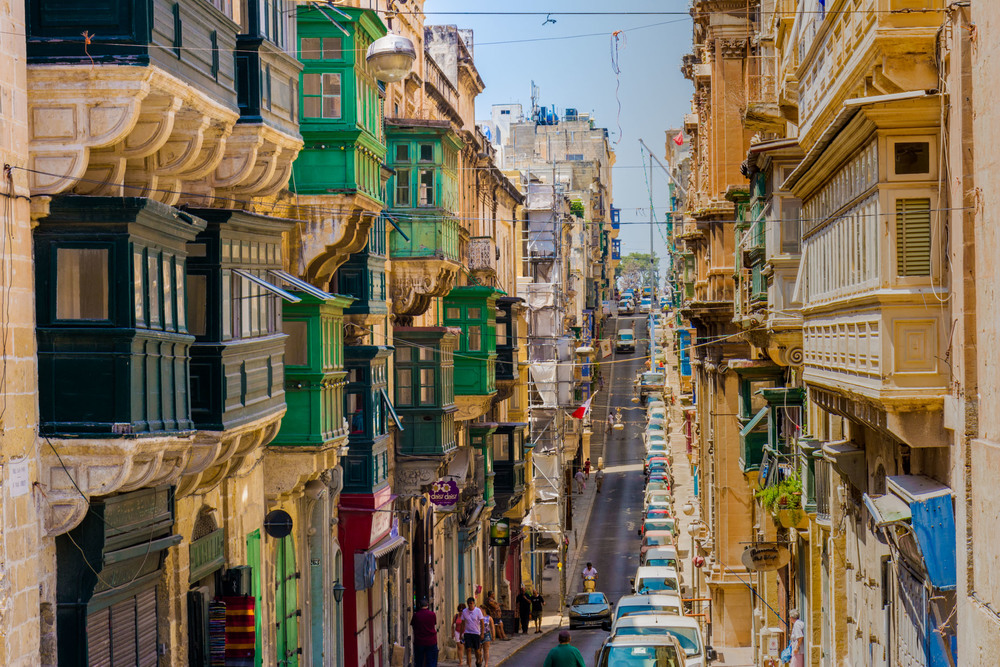 One of the many colorful and narrow streets in Malta