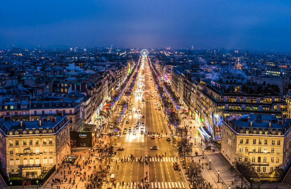 Birds eye view of Paris from the Arc de Triomphe