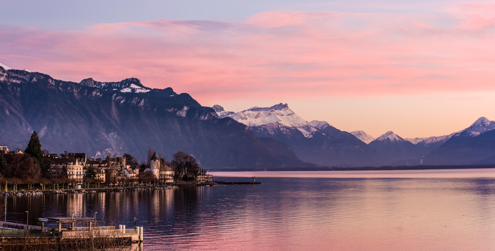 The massive Swiss Alps against Lake Geneva