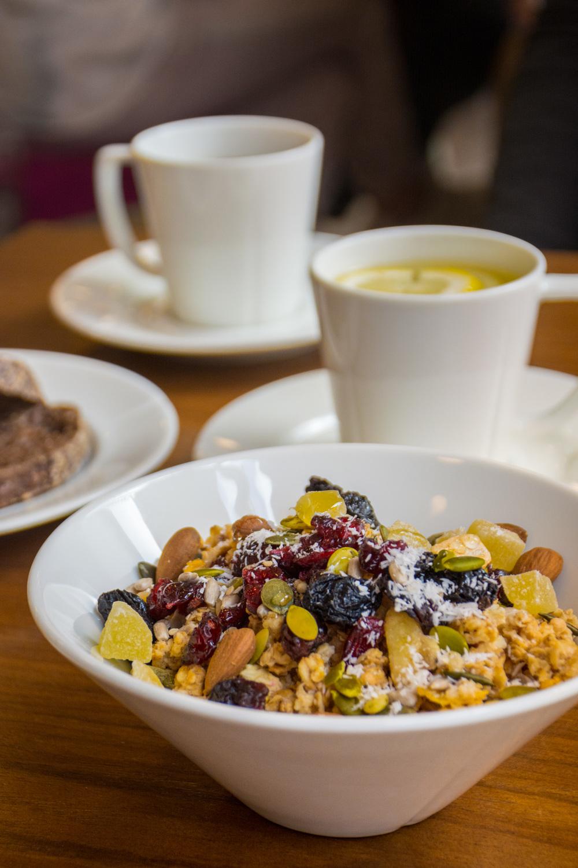 Delicious granola at breakfast