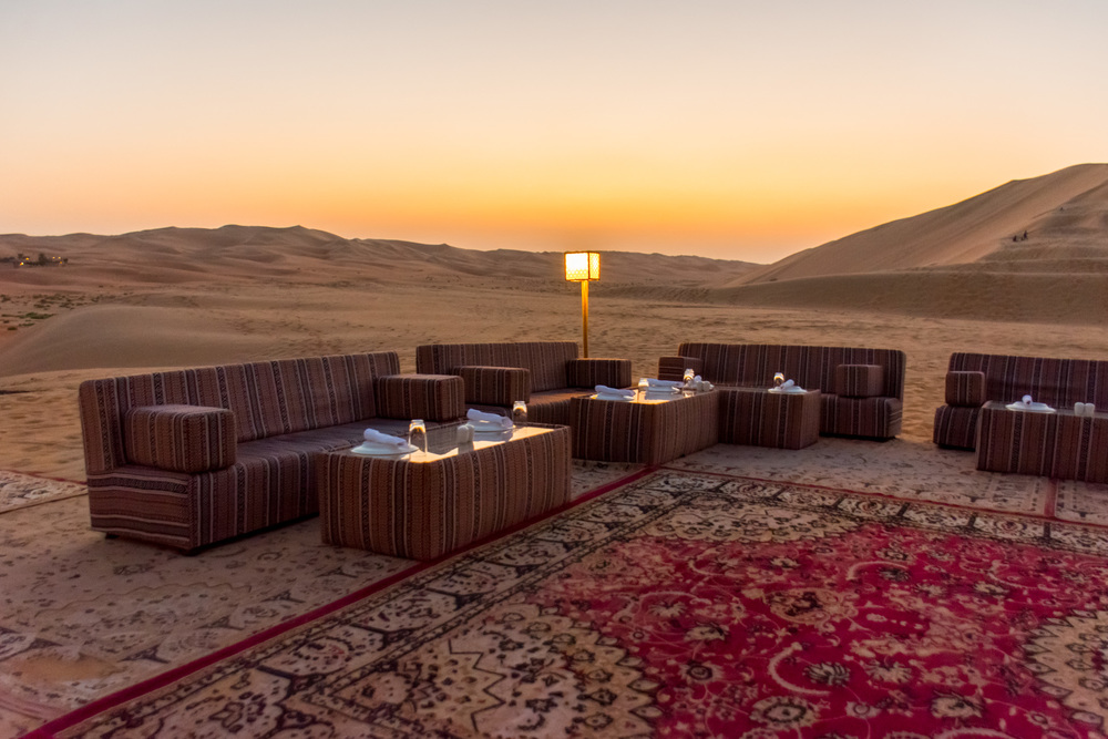 Dinner set up at Al Falaj - a must while visiting the resort!