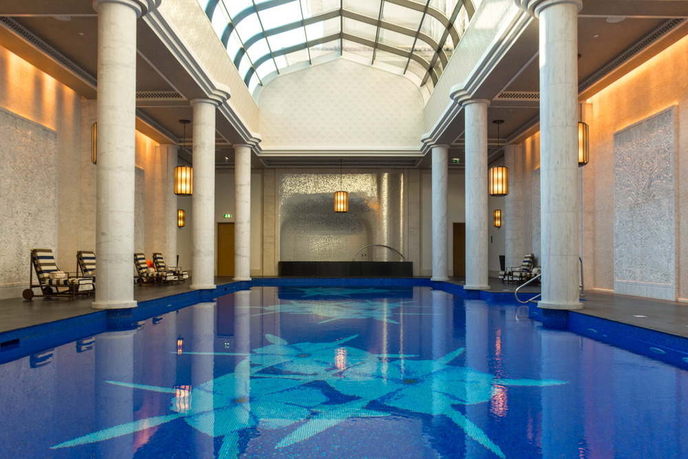 The indoor pool at the Pearl Spa of Four Seasons Dubai