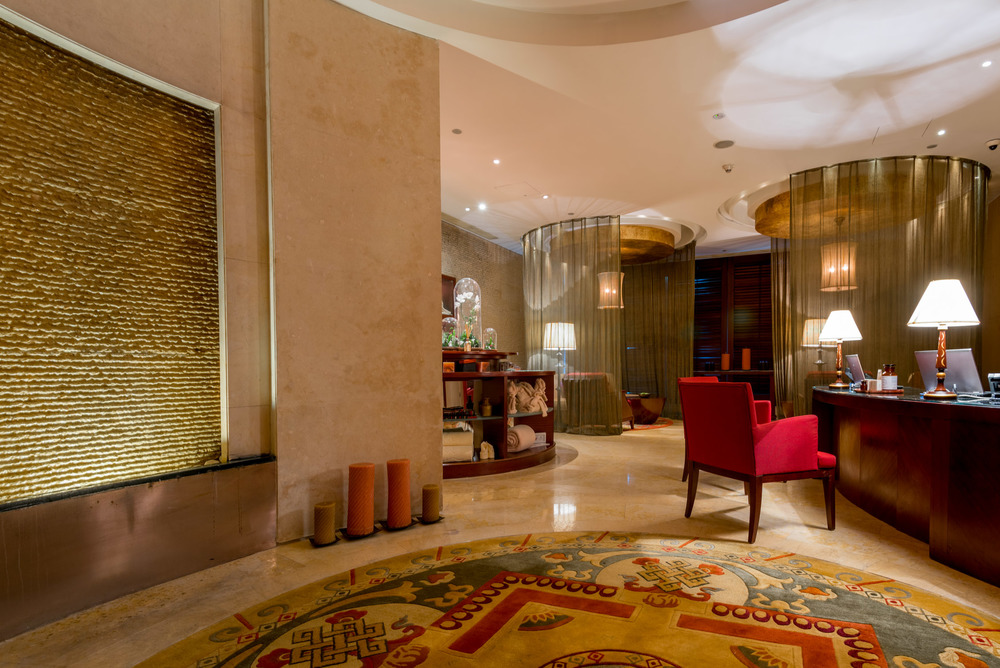 The lobby of Chi Spa at the Shangri-La Pudong Hotel in Shanghai