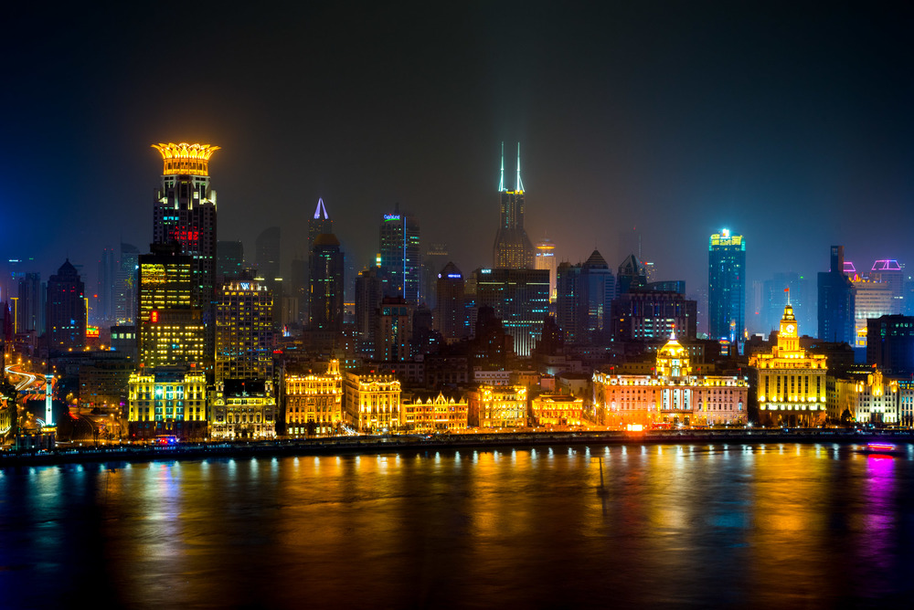 Looking over Huangpu River and Puxi, from the Pudong Shangri-La at Shanghai
