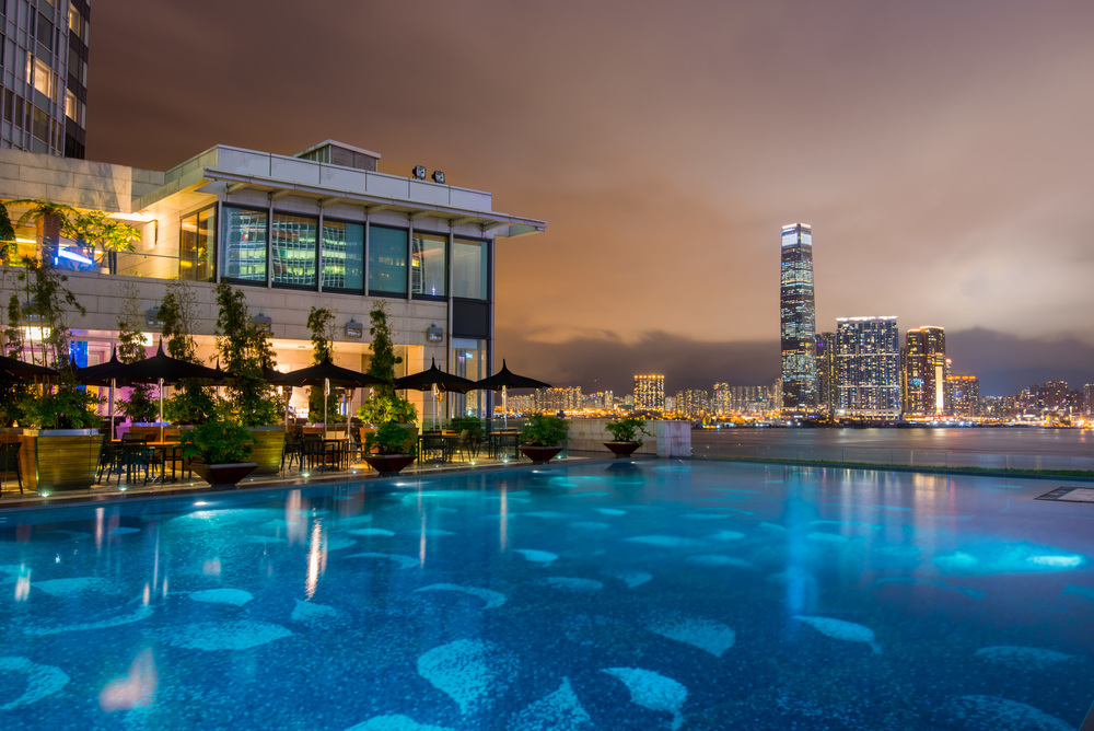 The outdoor pool, overlooking the harbor, at the Four Seasons Hong Kong