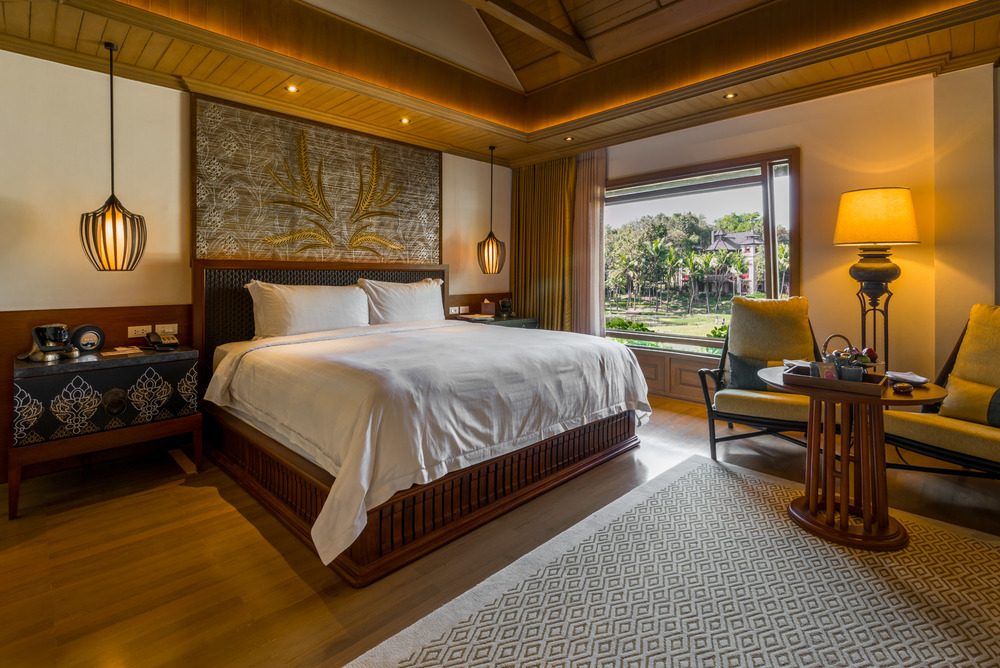 The bedroom in the Upper Level Pavillion at Four Seasons Chiang Mai