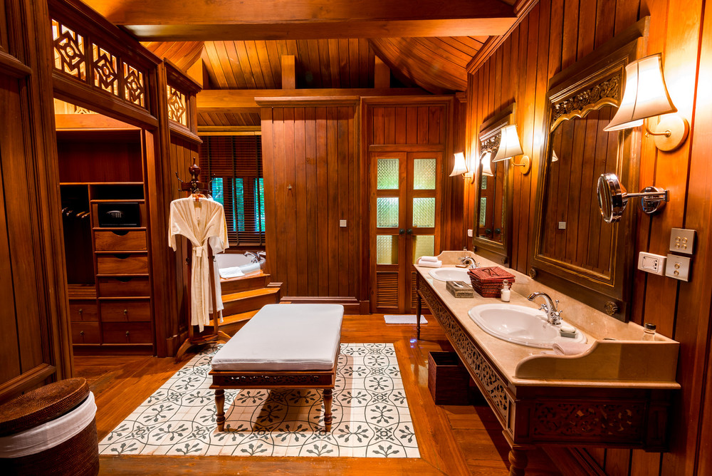 Our large bedroom and closet area at Dhara Dhevi...there was even an outdoor shower!