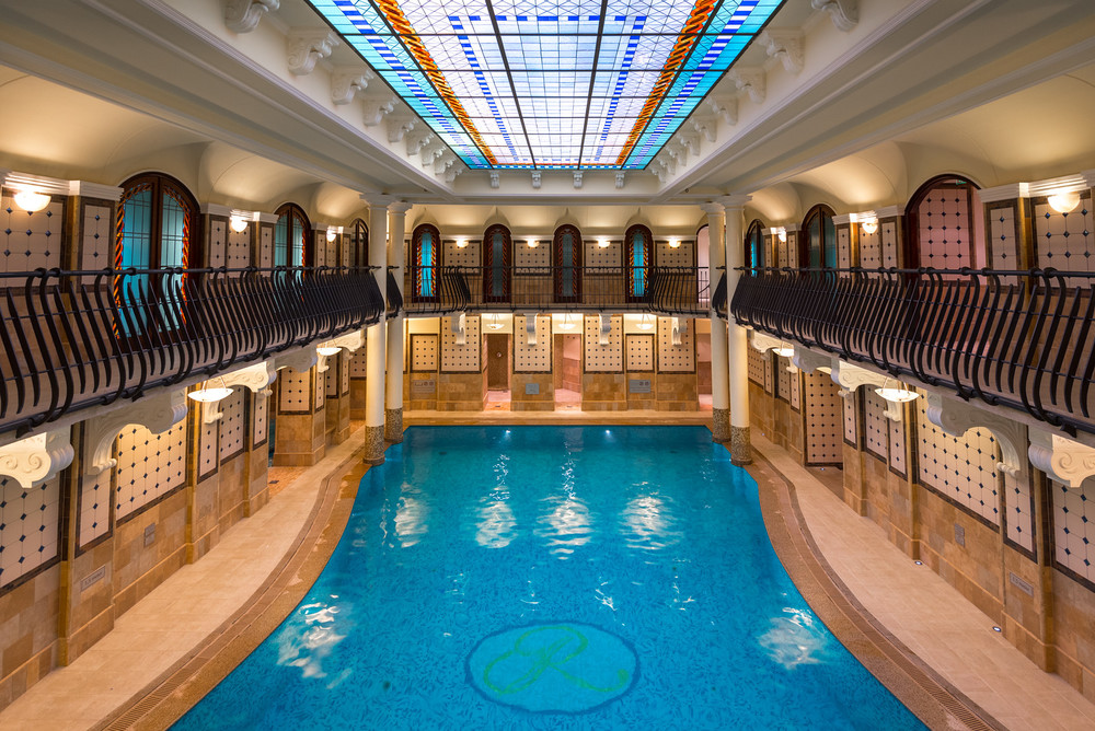The pool area at the spa at the Corinthia Hotel Budapest