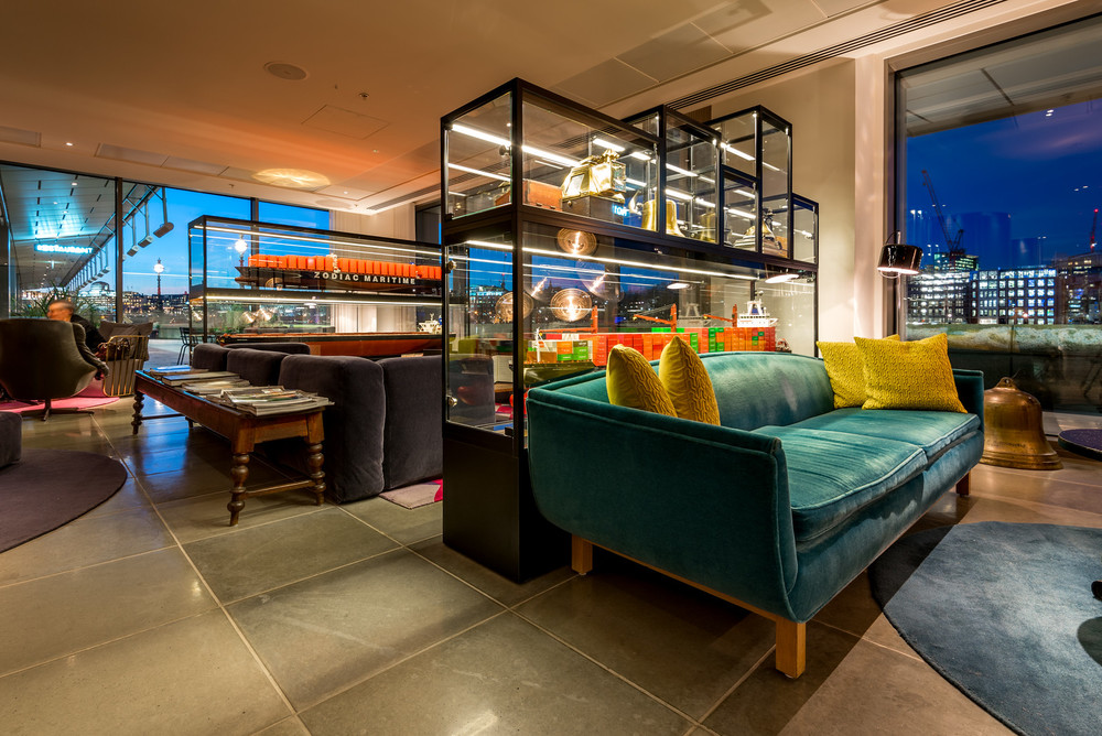 One of the common areas at the Mondrian London