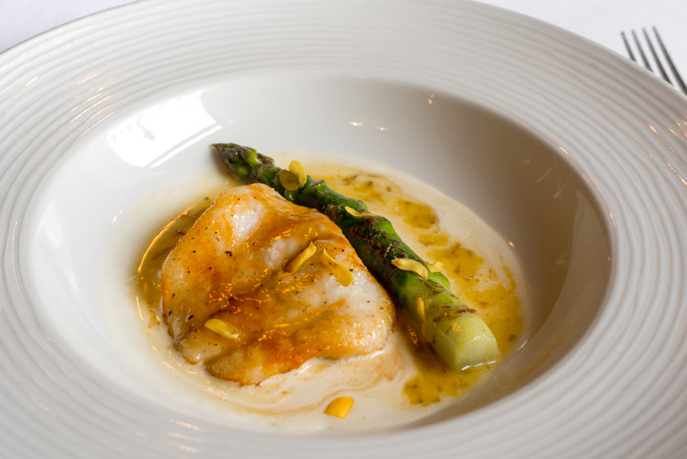 Pan fried turbot with asparagus