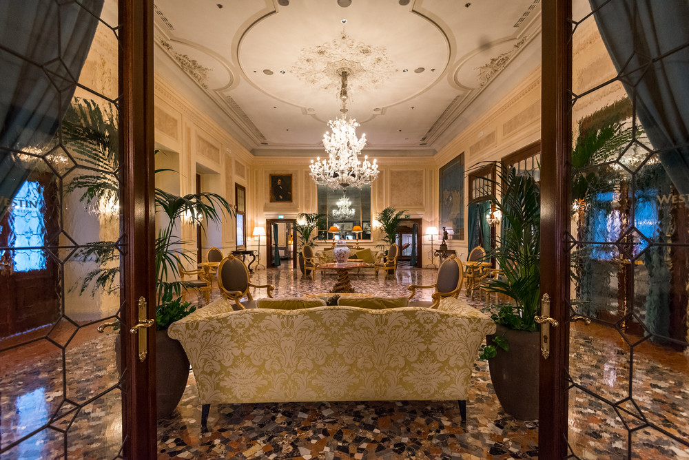 The lobby at The Westin Europa & Regina in Venice