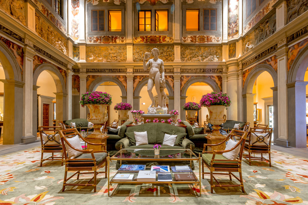 The lobby of the Four Seasons Hotel Florence