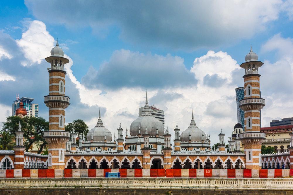Looking back at Masjid Jamek Mosque in Kuala Lumpur, Malaysia