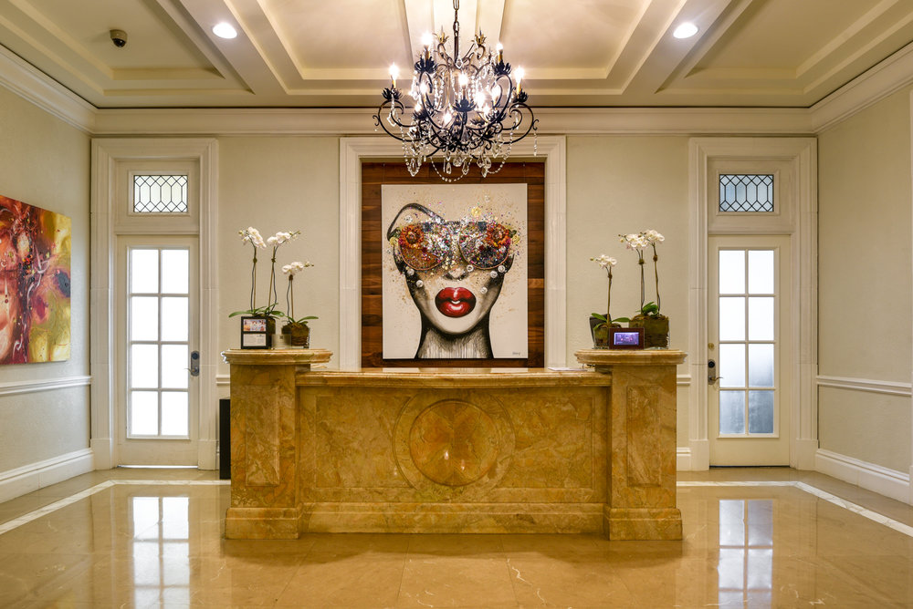 The lobby area of The Ritz-Carlton, San Juan with artwork by Quetzalcoatl