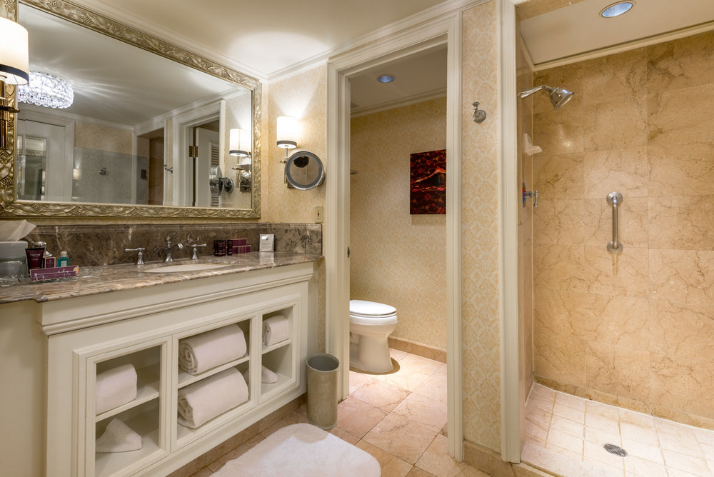 The bathroom inside our suite at The Ritz-Carlton, San Juan