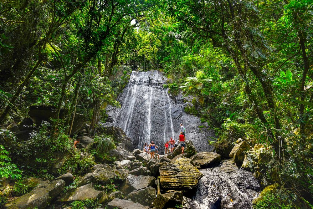 Looking back at the falls of El Yunque Rainforest
