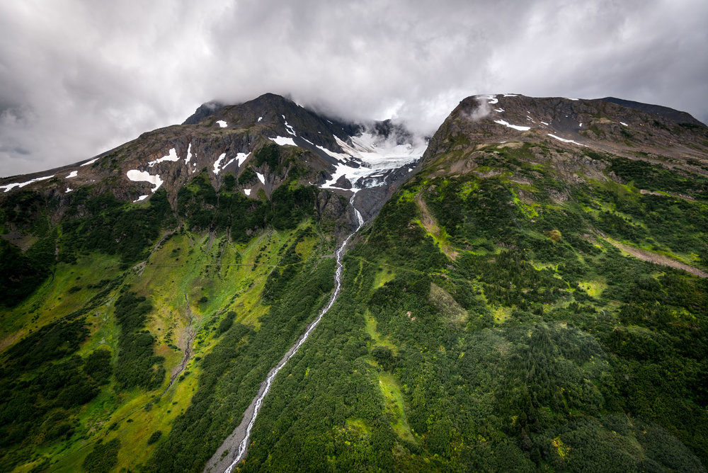 Glacier topped mountains surround Girdwood, Alaska
