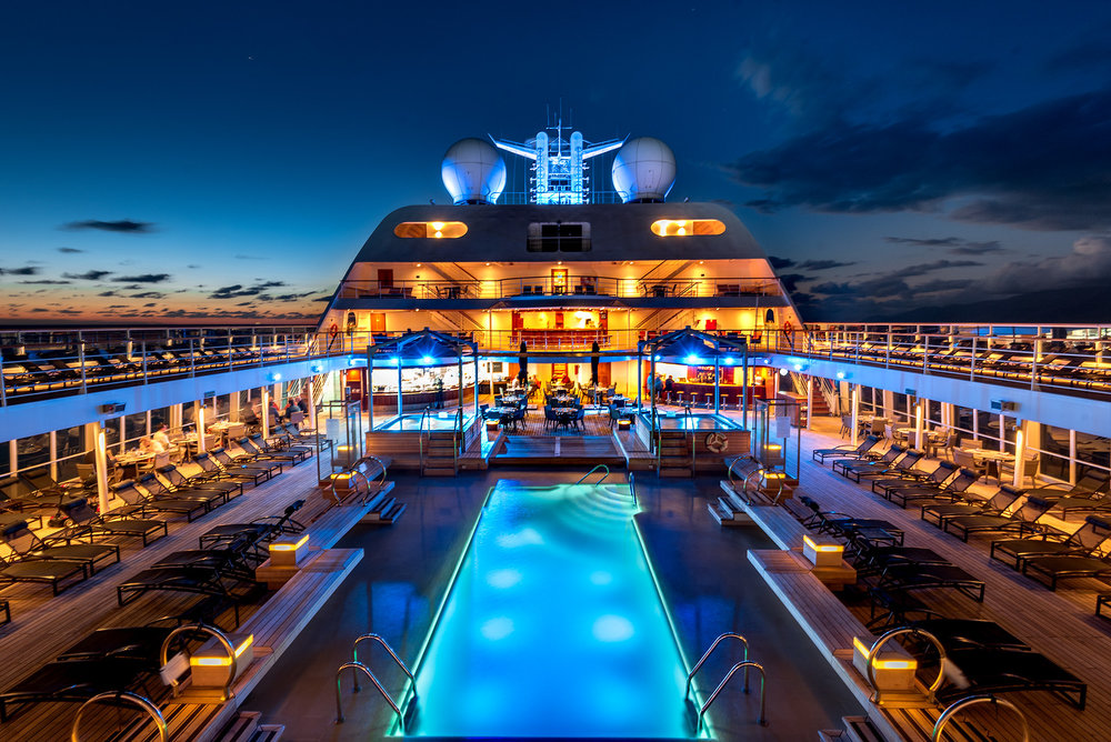 A  view of our ship, the Seabourn Odyssey as it sails the Mediterranean