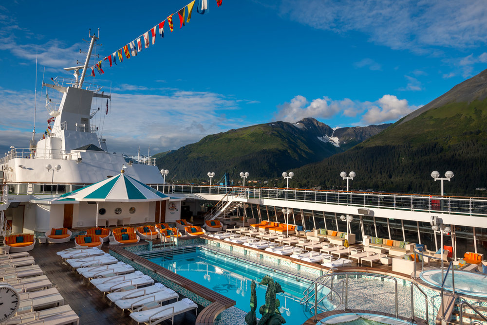 The pool deck aboard Crystal Cruises