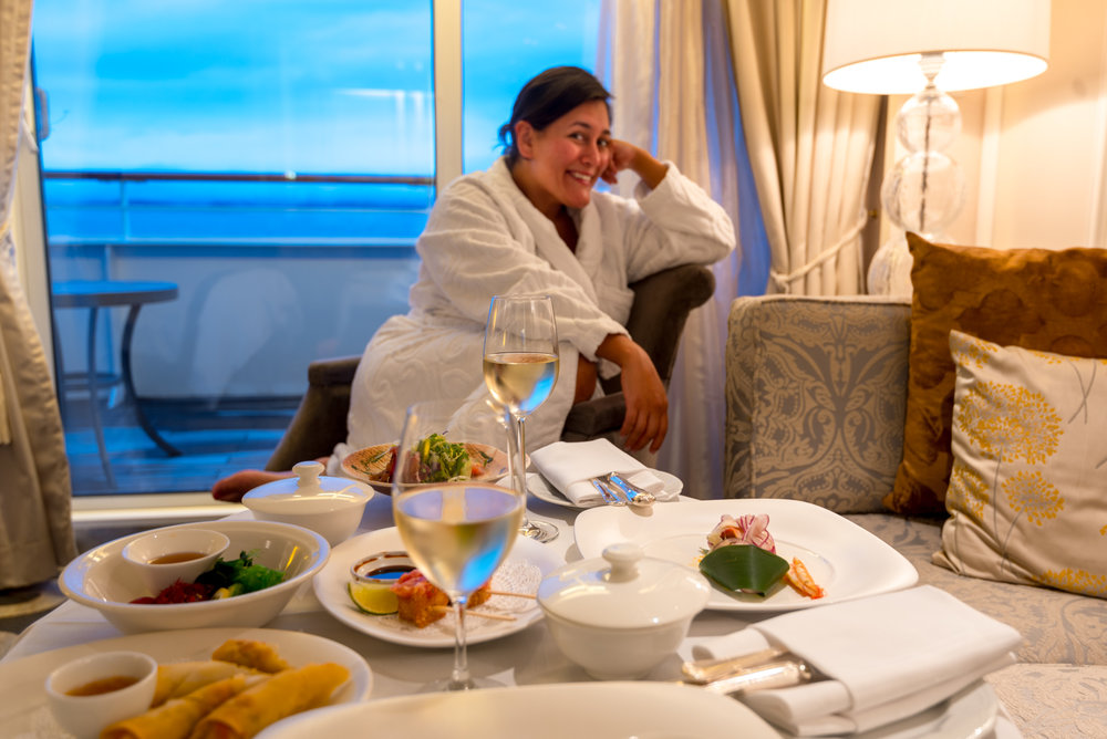 Ordering room service from Nobu aboard Crystal Cruises