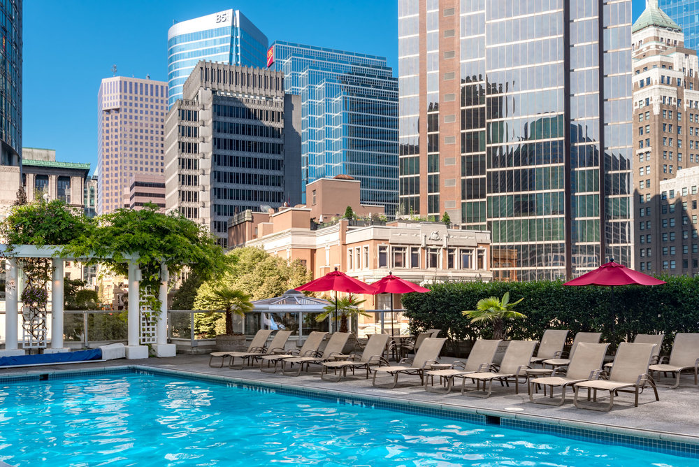 The rooftop pool is great for warm summer days