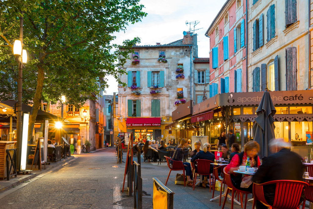 At night the cafes come alive in Arles, France