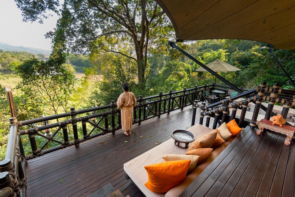 Looking across to Myanmar from our balcony at the Four Seasons Tented Camp