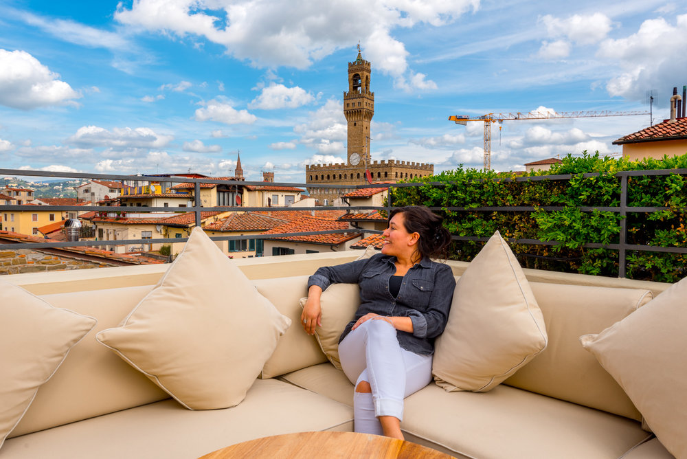 The rooftop bar at Hotel Continentale overlooking Florence, Italy