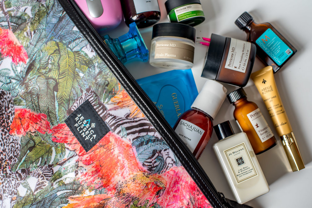 I keep my makeup and toiletries organized in this bag from Jessica Russell Flint