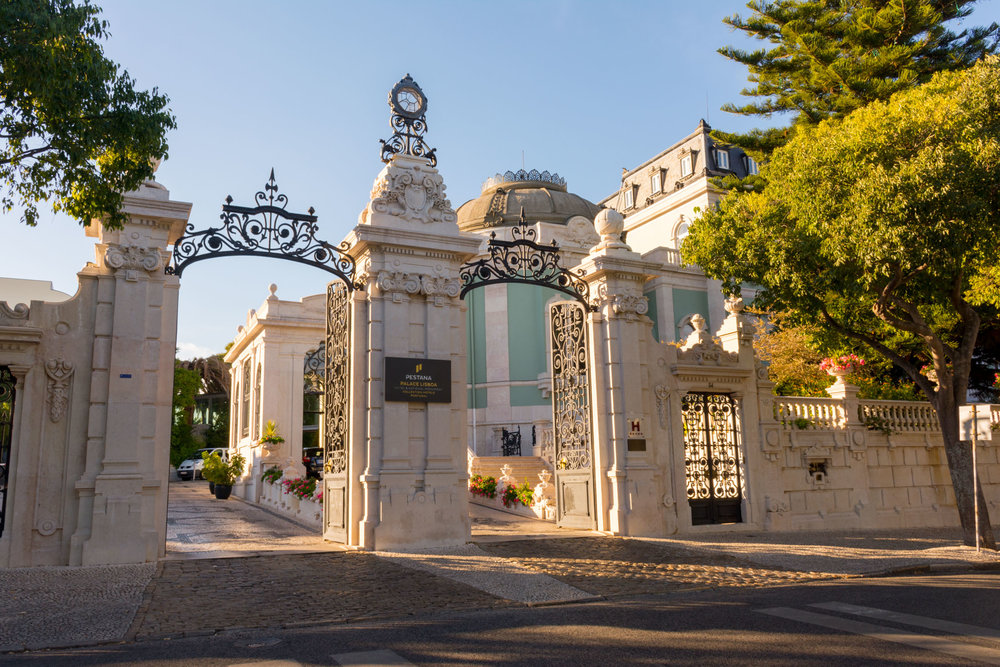 The entrance to Pestana Palace in Lisbon, Portugal