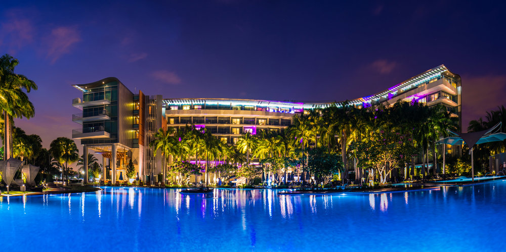 The W Hotel Singapore at night