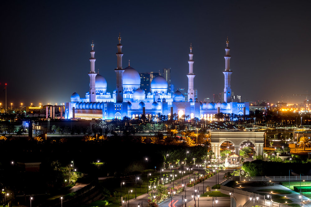 Stunning views of the Grand Mosque from our suite at the Ritz Carlton Abu Dhabi