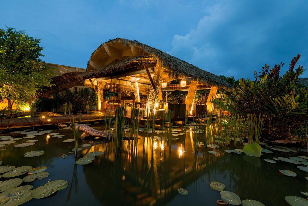 The uniquely designed open air reception at Chena Huts