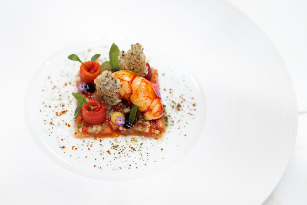 Carabiniero prawn, served with tomato, coriander and Thai salsa