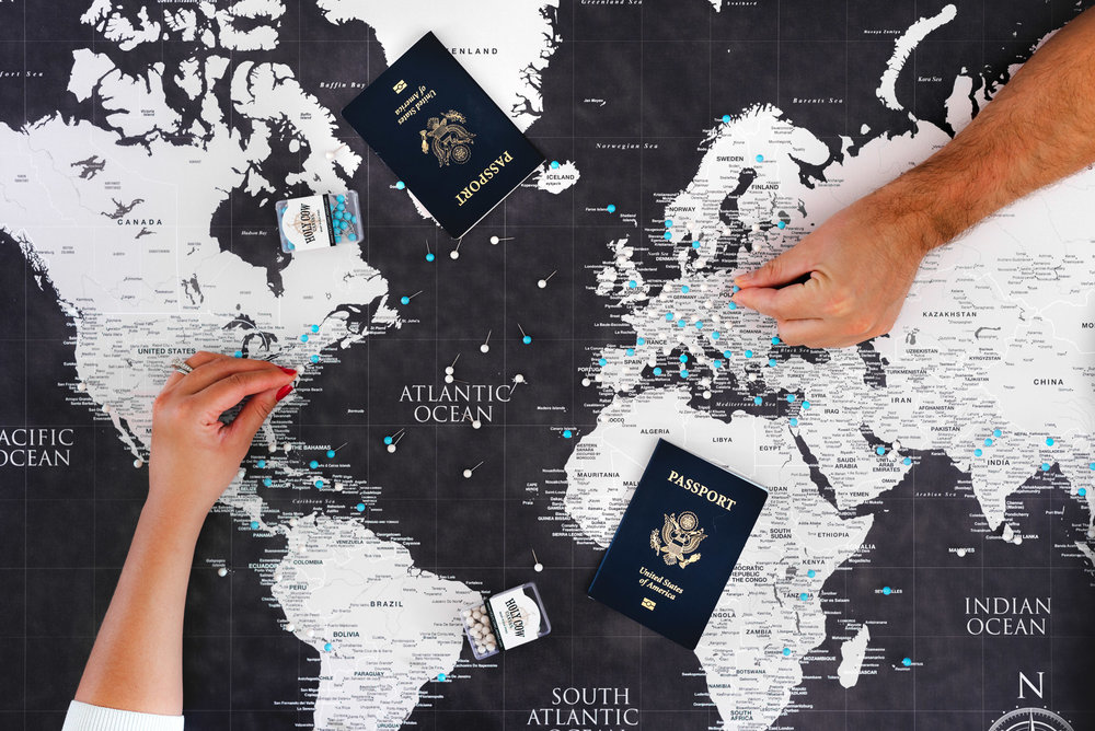 Track your travels with a push pin travel map