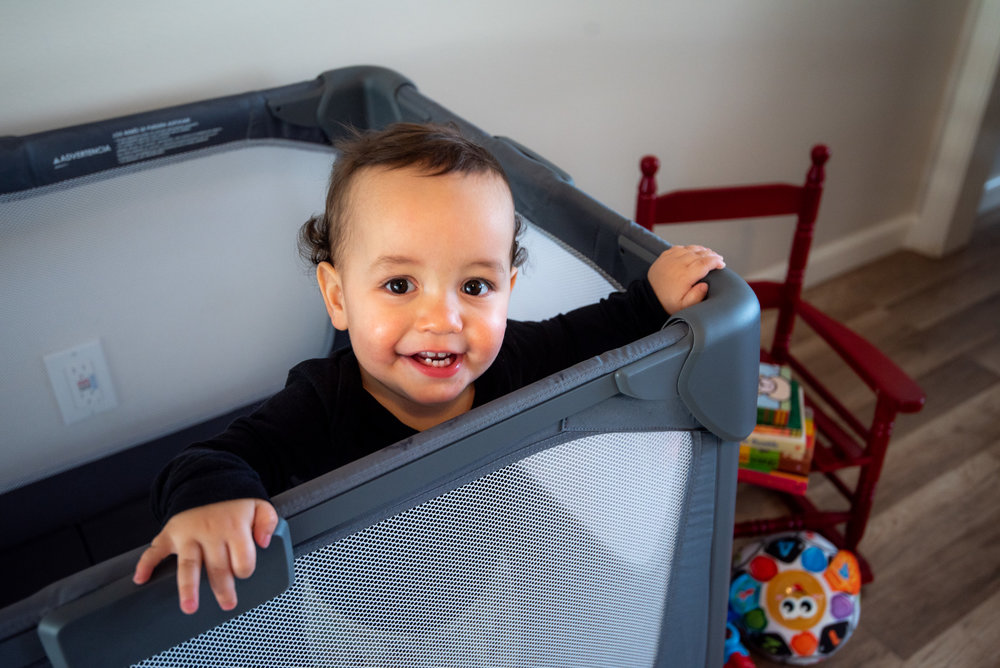 This Playard from 4Moms folds down quickly and can easily carried by hand