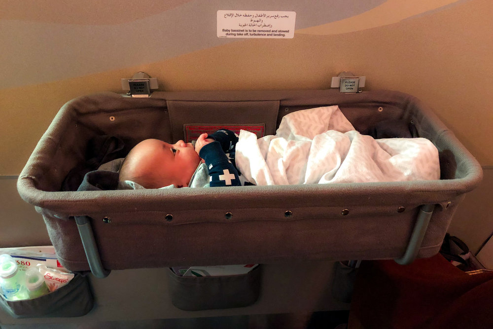 Flying with a newborn? Most airlines will provide a free baby bassinet