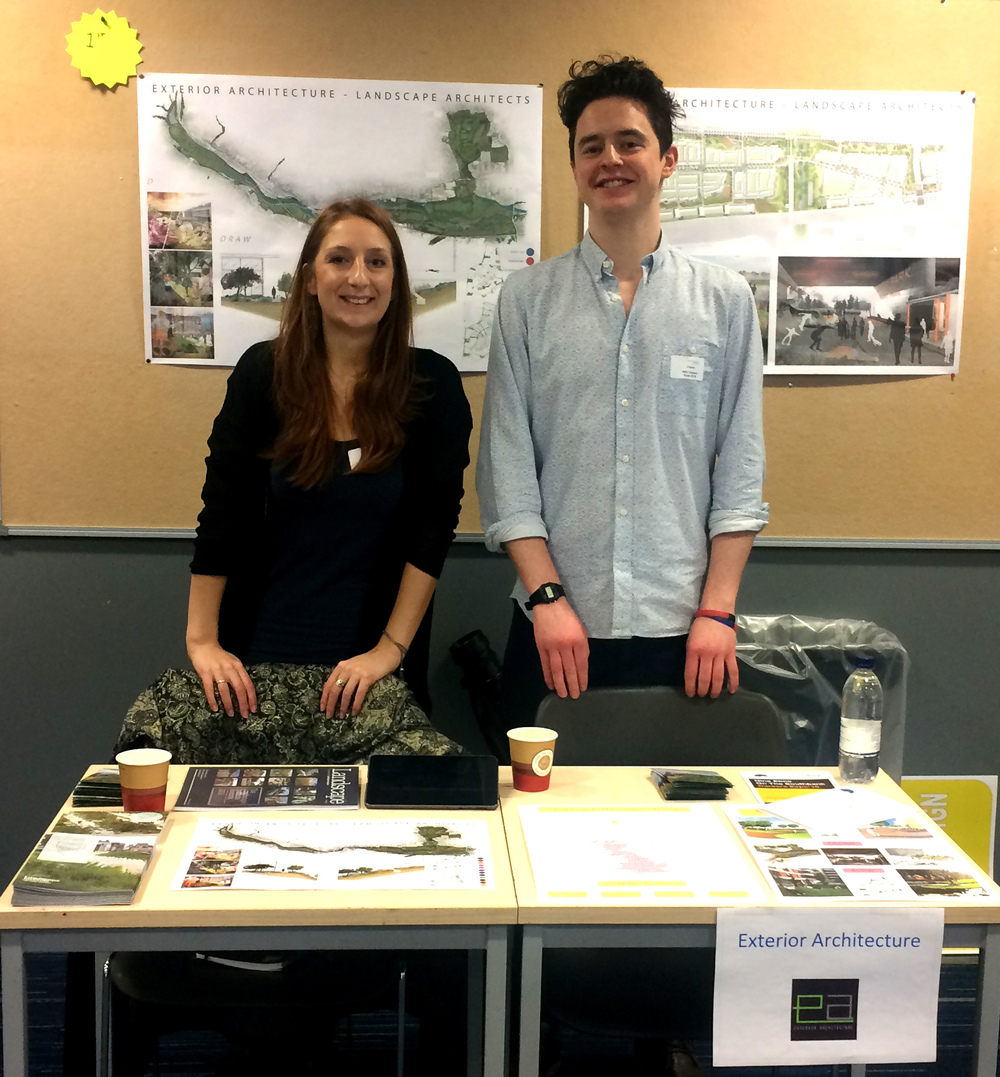 ExA's Hannah and Mark setting up the stand