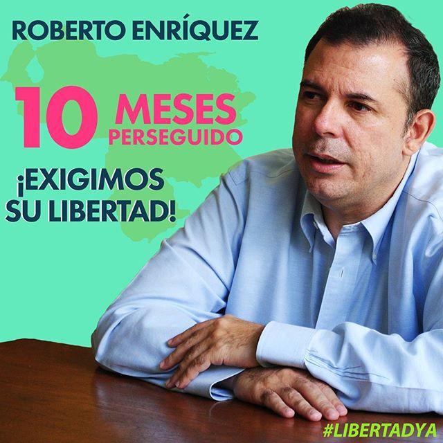 Hoy nuestro hermano y Presidente Nacional Roberto Enríquez @robertoenriquezl cumple 10 meses en la residencia del embajador de Chile en Caracas, con una orden de captura de un tribunal militar! Seguimos luchando por la libertad de Venezuela, así como la de cada preso y perseguido político!  Fuerza!