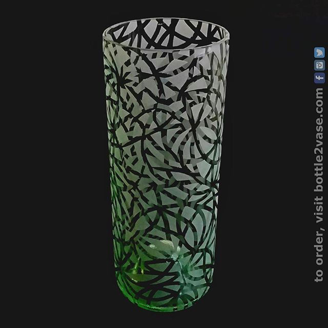 AVAILABLE AT THE @jccmanhattan TODAY! A @hagafen_cellars bottle transformed into something unique with a bit of polishing and sandblasting!  Most of the pattern is just a few long lines looping around - after enough loops, the lines cover most of the glass, and you're left with lots of little shapes.  So, chaotic as it might look, everything fits together!  #winewednesday #bottle2vase #hagafencellars #unique #homedecor #giftideas #bottles #pollock #scribbles #doodle #instawine #winestagram #jccmanhattan