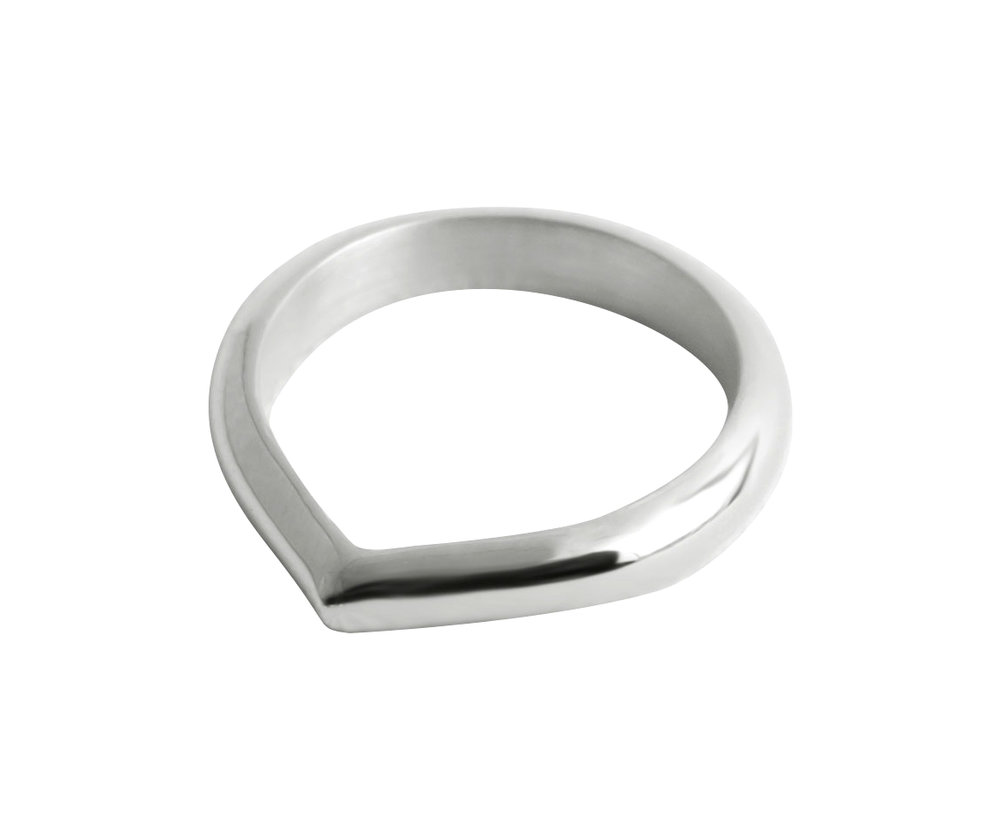 Rundet Toppen Ring — 18K Fairtrade White Gold