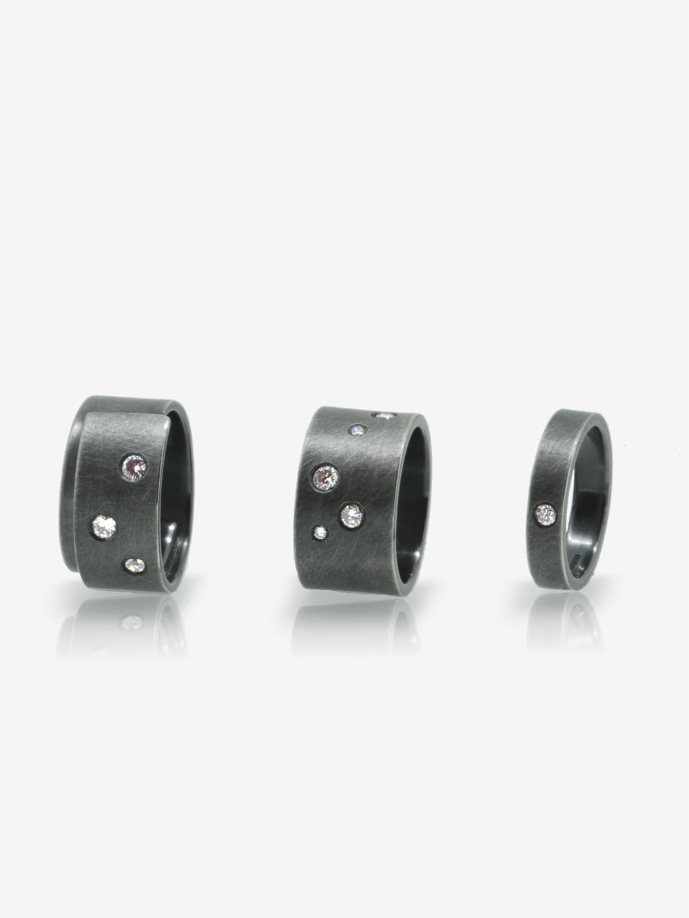 Series of oxidised Eco silver rings