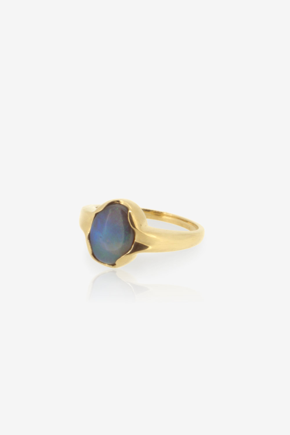 1.10ct Black Opal Fairmined Eco gold engagement ring