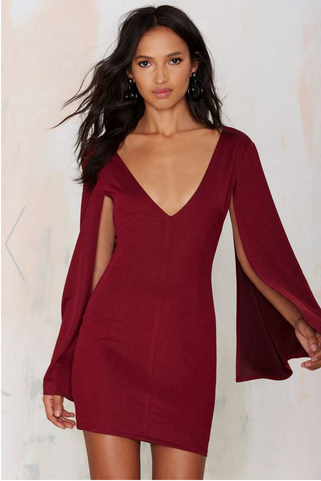 RARELONDON DUST TILL DAWN MINI DRESS - BURGUNDY