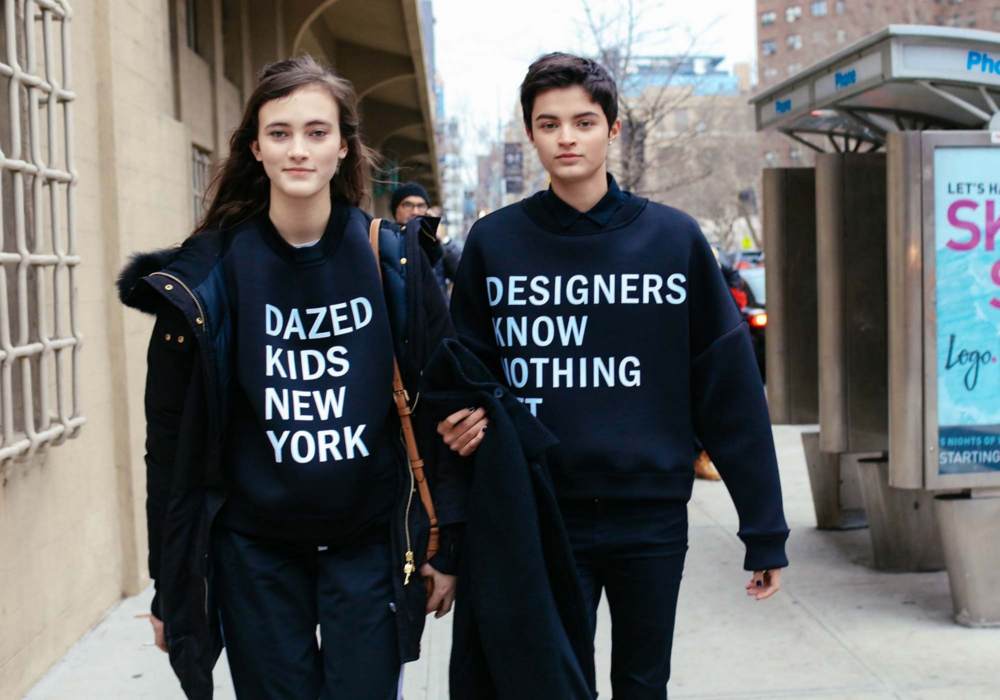 Greta Varlese and Isabella Emmack in  DKNY sweatshirts