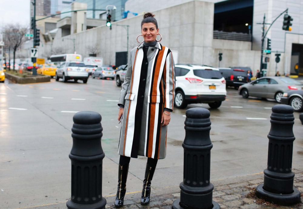 Giovanna Battaglia in a Prada coat
