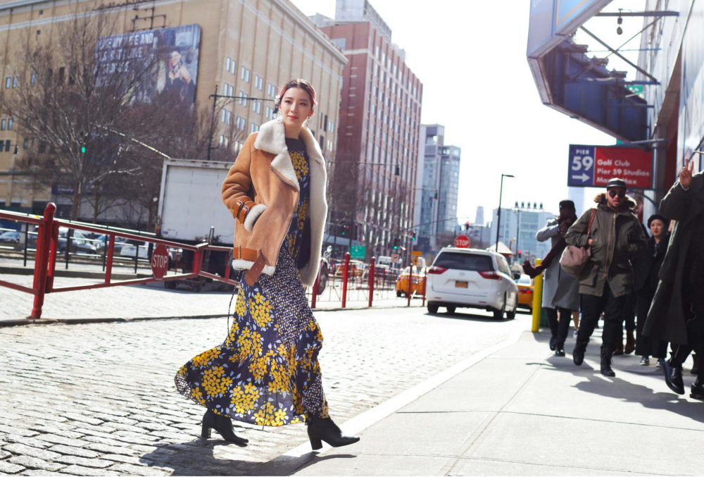 Irene Kim in a Suno dress and Acne Studios coat