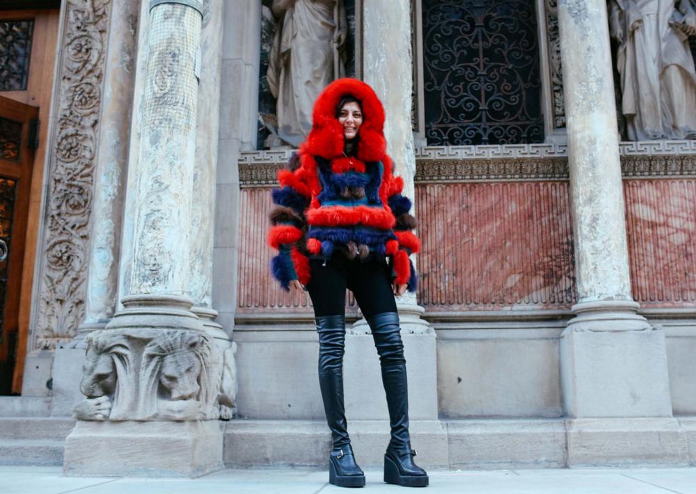Giovanna Battaglia in a Sacai coat