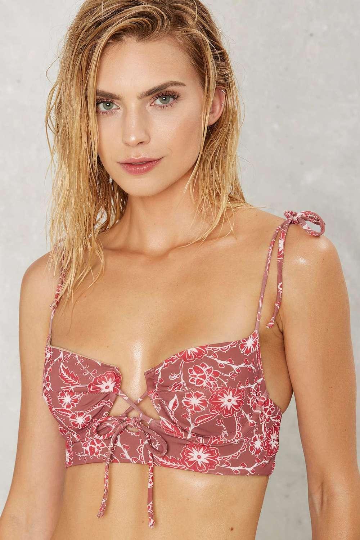 For Love & Lemons Riviera Floral Bikini Top